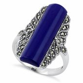 Sterling Silver Blue Lapis Tall Marcasite Ring