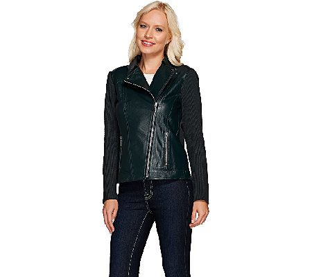 Linea by Louis Dell'Olio Leather Moto Jacket Qvc love this
