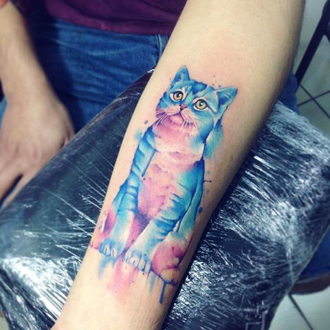 Cat AB #tattoo #tatuaje #watercolor #cat #gato #gatito #aquarelle #colors #animal #mascota