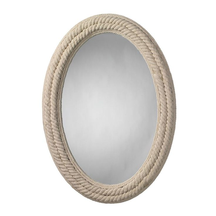 Twisted White Rope Wrapped Oval Mirror
