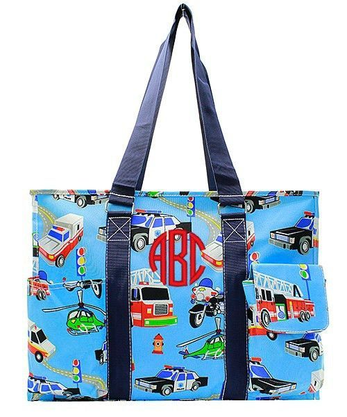 """Personalized Fire Truck 18"""" Large Organizing Utility Tote Bag - Navy"""