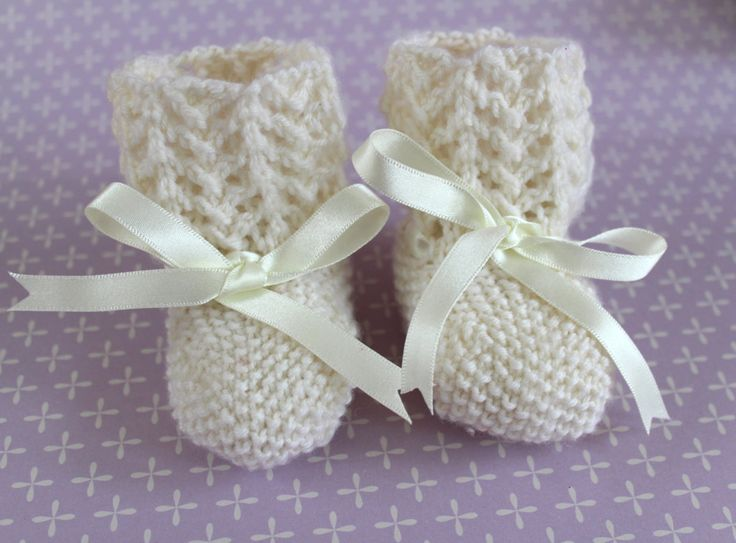 Ivory Baby Booties, Ivory Crib Shoes, Traditional Booties, Baptism Gift, Wool Booties, Hand Knit Booties, Unisex Booties, New Baby Gift, by Pinknitting on Etsy