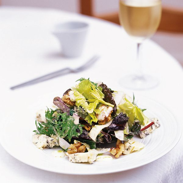Salads don't have to be limp leaves of lettuce with forlorn slices of tomato and cucumber, you know. This stilton, walnut and chicory salad is exciting and tasty.