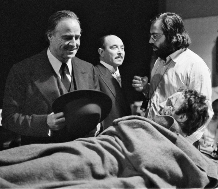 "History of Cinema on Instagram: ""'The Godfather' (1972) behind the scenes of James Caan, Marlon Brando, Francis For… 