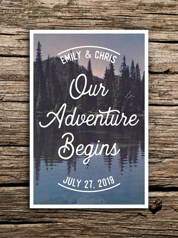 Pine Mountain Vintage Postcard Save the Date // Woodland
