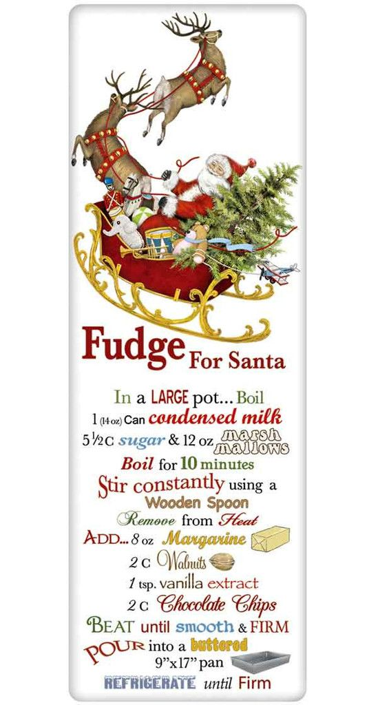 Santa Chocolate Fudge Recipe 100% Cotton Flour Sack Dish Towel Tea Towel