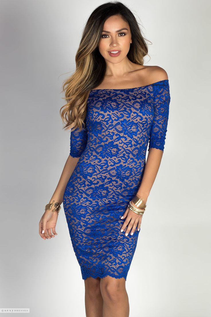 Beautiful Off Shoulder Royal Blue Lace Cocktail Dress with Sleeves