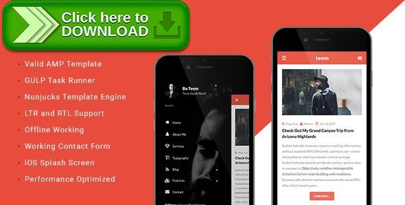 [ThemeForest]Free nulled download teem - AMP Blogging Template from http://zippyfile.download/f.php?id=32564 Tags: accelerated mobile pages, amp, arabic, blog, clean, gulp, gulp.js, ipad, iphone, nunjucks, responsive, right to left, rtl, template engine