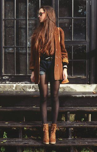 Brown jacket boots, denim shorts casual women apparel style outfit @roressclothes closet