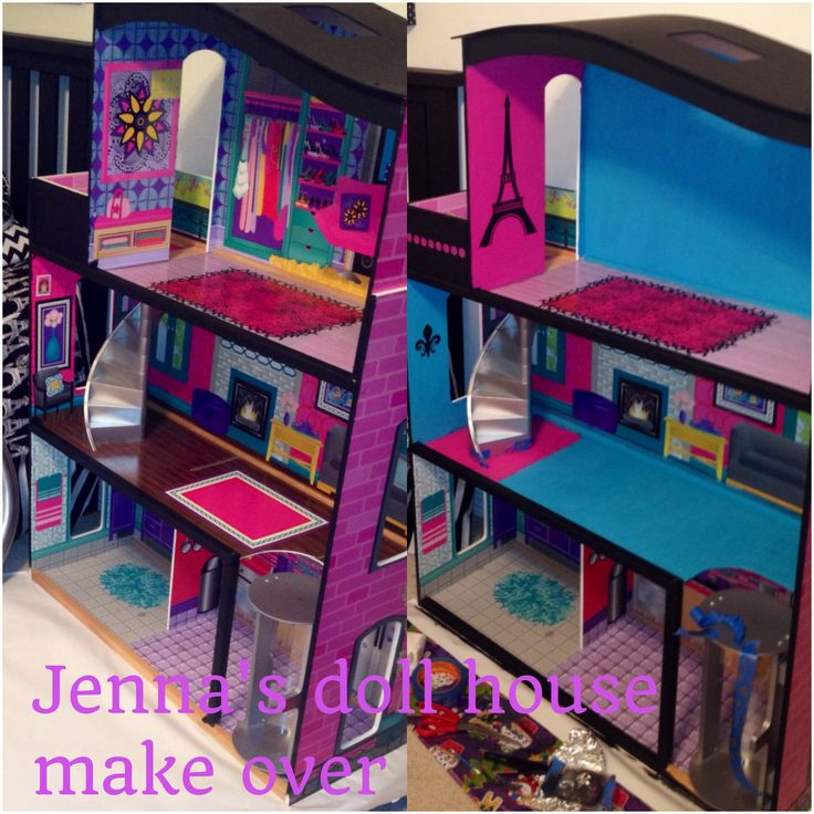 Doll house make over using paint & stencils   Little
