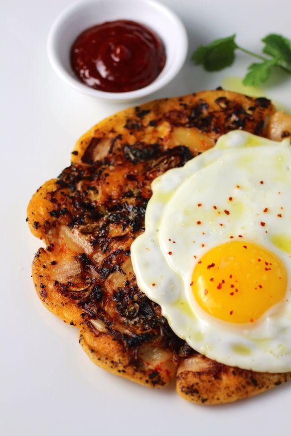 Savory Korean Breakfast Pancake {Breakfast Bindaetteok} @FoodBlogs