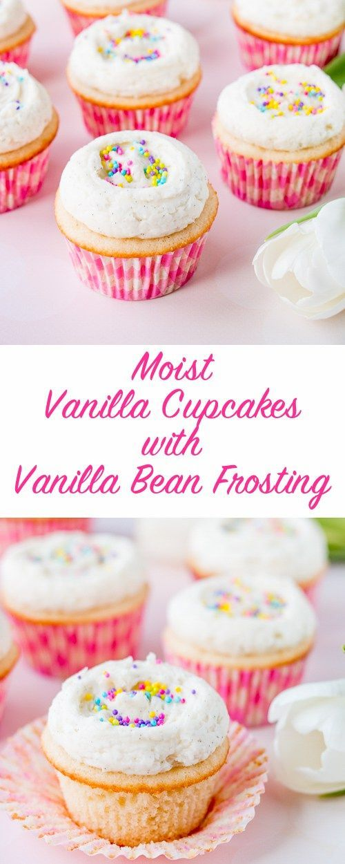 Say good-bye to dry and boring vanilla cupcakes, and hello to these supremely moist and flavorful vanilla cupcakes!