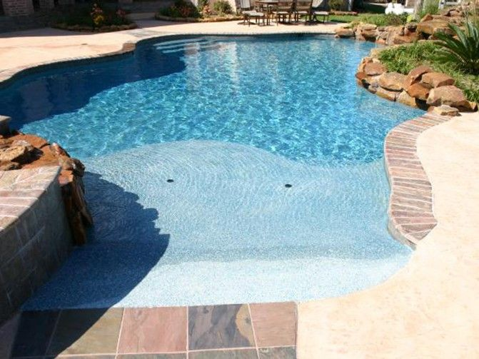 163 best images about pool hot tub ideas on pinterest gunite pool swimming pool designs and Beach entry swimming pool designs