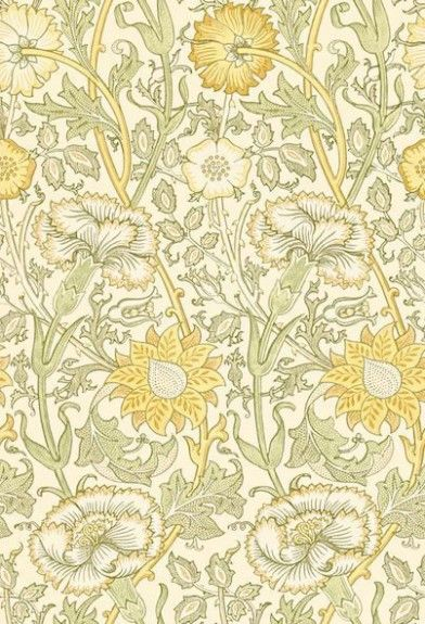 Pink & Rose (212569) - Morris Wallpapers - A large stylised design of intertwining stems of flowering carnations and roses, inspired by the 1890 original. Shown in the fresh yellow and green colourway.  Please request sample for true colour match.