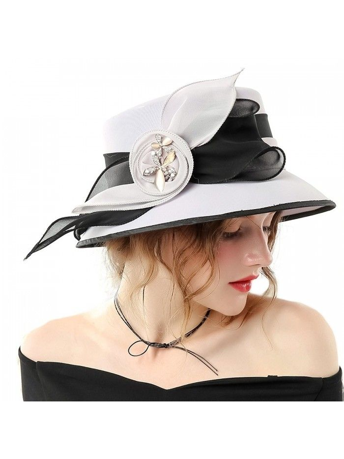 5ce2cde1dd9 Women Hat Formal Dress Hat Chiffon Fabric Feather Two Tone Colors - Grey  Black-1 - C0186YLY8WK - Hats   Caps