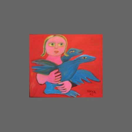 Bird Embrace, 2002 Electric red background!!