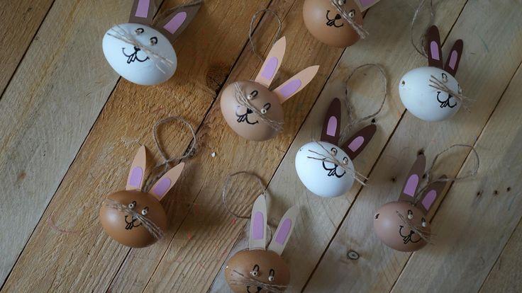 Zajíci z vajíček - Vajíčko ozdobíme do motivu zajíce, přilepíme uši zbarevného papíru. Do vajíček jsme vyvrtali dírku pro zavěšení naležato. ( DIY, Hobby, Crafts, Homemade, Handmade, Creative, Ideas, Handy hands)