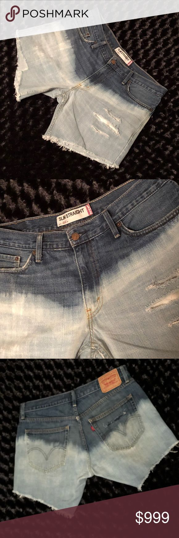 "Distressed Levi's Custom bleached and destroyed Authentic Levi's 514's. The actual jeans are 34"" waist. Measurements are approximately waist 34"", inseam 7"", hips 44"", rise. Per measurements the shorts translate to a size 12/14 so I am listing them as such. ❗️MULTIPLE SIZES CHOSEN FOR SEARCH FUNCTIONALITY AND BECAUSE THE ITEM WILL FIT ALL SELECTED SIZES❗️ NO TRADES Levi's Shorts Jean Shorts"