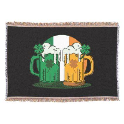 St. Patrick's Day. Beer Stein. Ireland Flag. Throw - st. patricks day gifts irish ireland green fun party diy custom holiday
