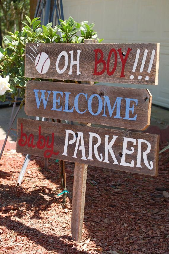 Wooden Baby Shower Sign : wooden, shower, Welcome, Baseball, Shower, Decorations, Materni…, Decorations,, Signs,