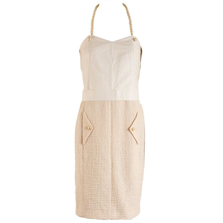Chanel Creme Leather and Cotton Halter Dress Size 38 | From a collection of rare vintage day dresses at https://www.1stdibs.com/fashion/clothing/day-dresses/