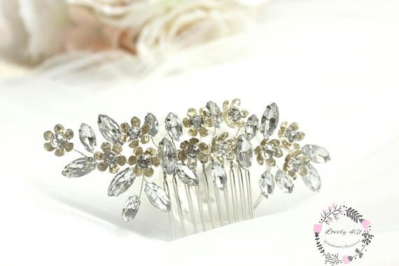 Silver Rhinestone Comb Flower Comb Bridal Flower Comb Hair