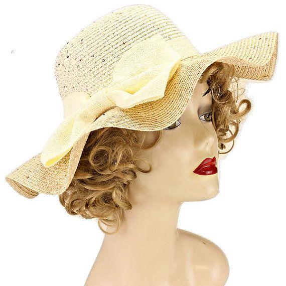 womens bow woven straw floppy wide brim sun hat