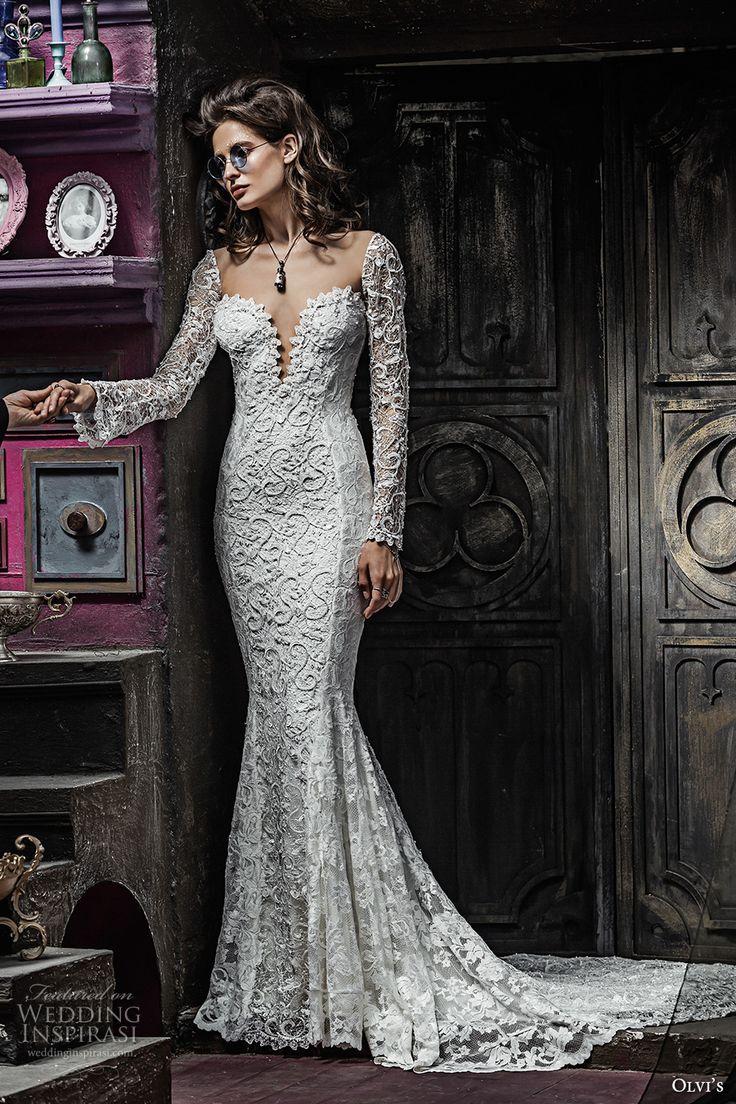 olvis 2017 couture bridal long sleeves deep plunging sweetheart neckline full embellishment elegant sexy lace mermaid wedding dress low back chapel train (2318) mv