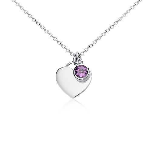 Amethyst Birthstone Heart Pendant in Sterling Silver | Blue Nile