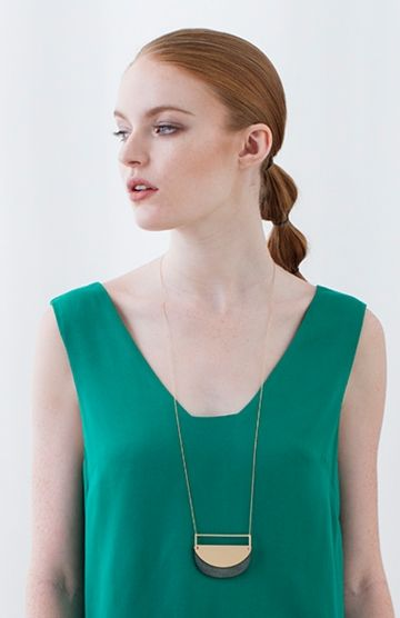 Women's Metal Eclipse Long Necklace Model View by Elk The Label