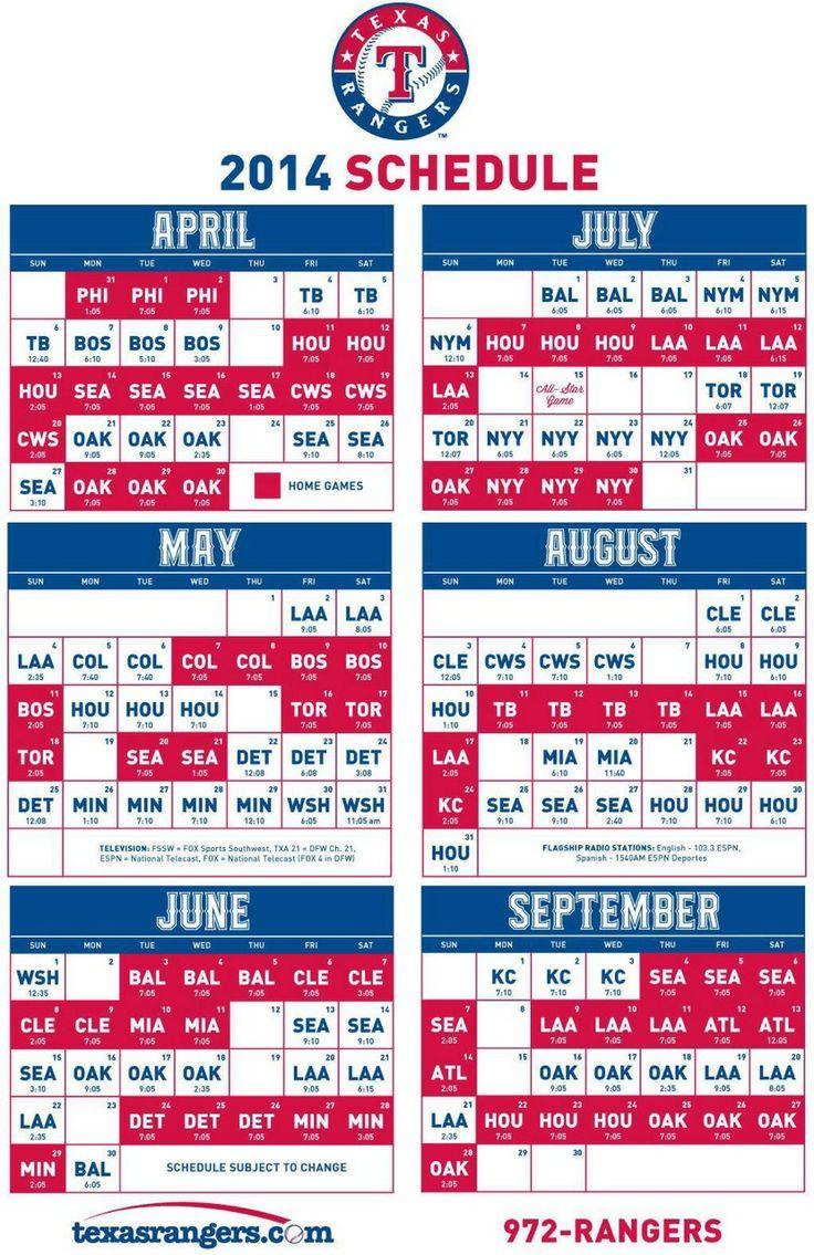 2014 Schedule - Texas Rangers ☆