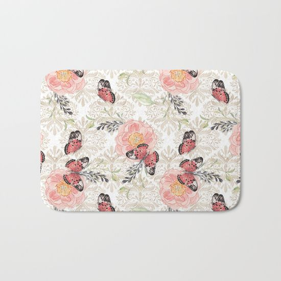 #butterflies #flowers #bathmat Available in different #giftideas products. Check more at society6.com/julianarw