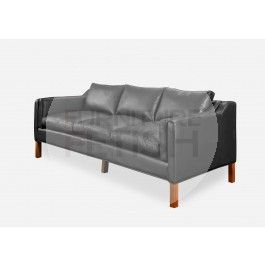 Replica Borge Mogensen 3 Seater Sofa - Black Aniline Leather