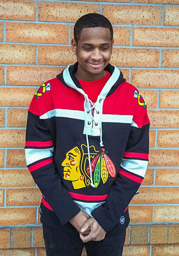 5b6bf59c0 '47 Chicago Blackhawks Mens Black Superior Lacer Fashion Hood, Black, Size  2XL. '