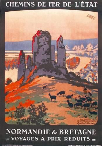 chemins de fer de l'état - Normandie & Bretagne - Le Château-Gaillard. Les Andelys - illustration de Léon Constant-Duval -