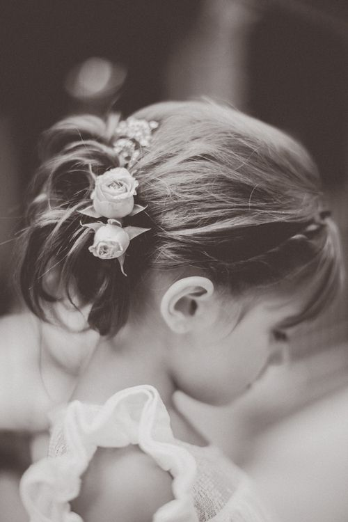 flower girl hair and flowers - adorable