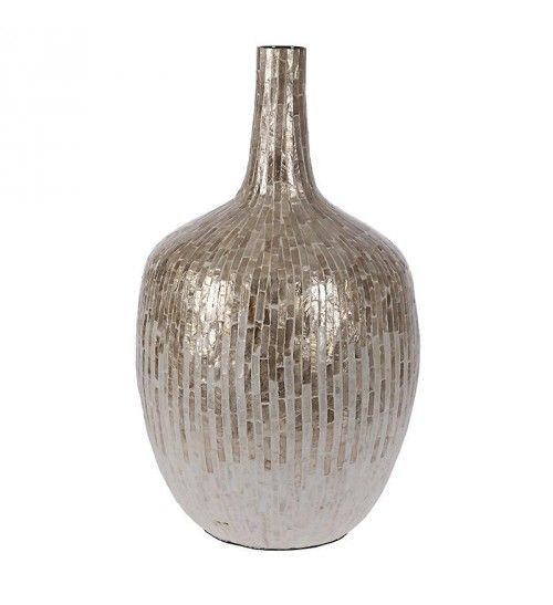 BAMBOO VASE COVERED W_SHELLS IN CHAMPAGNE COLOR 29Χ29Χ50