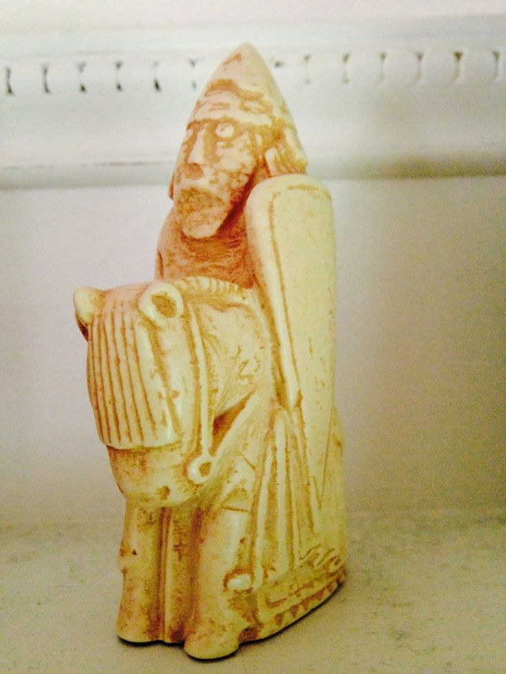 Knight chess piece (replica from Medieval set), like the pieces Adrian uses in playing Nigel.