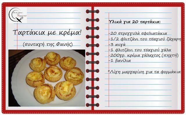 Θα σε κάνω Μαγείρισσα!: Ταρτάκια με κρέμα! (συνταγή της Φανής)