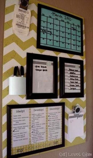 BOARD 16 Easy Kitchen Organization Ideas and Tips with Pictures! (Make the board metal, paint, and put magnets on the back of the picture frames) So Cute!