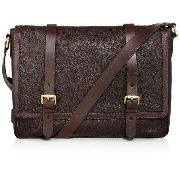 Cole Haan Brayton Pebbled Leather Messenger (€380) ❤ liked on Polyvore featuring men's fashion, men's bags, men's messenger bags, java brown, mens brown leather messenger bag, cole haan men's messenger bag and mens messenger bag