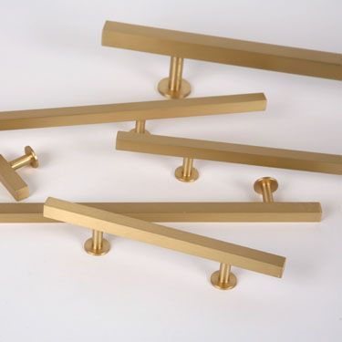 Brushed brass drawer pull Lew's Hardware
