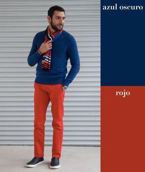Azul oscuro + rojo | 17 Combinaciones de color que todo hombre puede usar