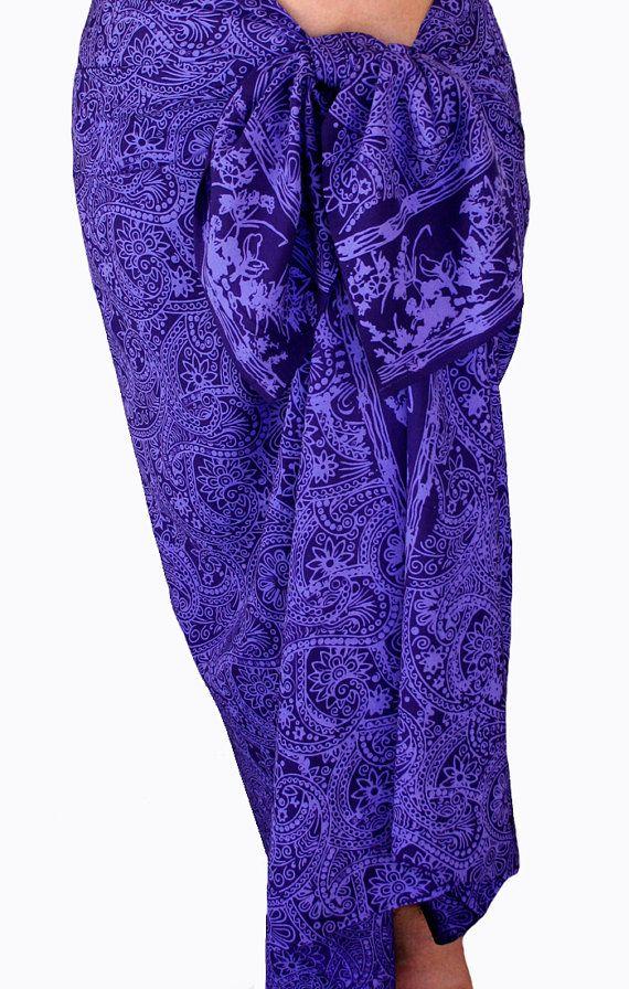 Batik Pareo Beach Sarong Women's Beach Clothing Sarong Wrap Skirt - Indigo Purple Paisley Sarong Swimsuit Cover Up - Beachwear - Sarong Wrap