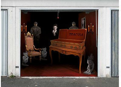 3D EFFECT GARAGE DOOR BILLBOARD STICKER COVER DRAKULA HALLOWEEN 9,02 x 8,04 FEET