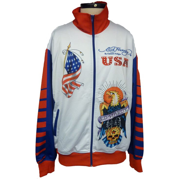 Ed Hardy Mens Country Track Jacket with Stones – Blue