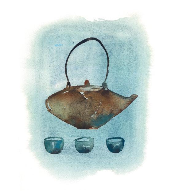 Tea time !: Watercolor Painting, Teas Time, Teapots 5X7, Blue Japanese, Art Prints, Prints Watercolor, Japan Teapots, Teas Prints, Japanese Teapots