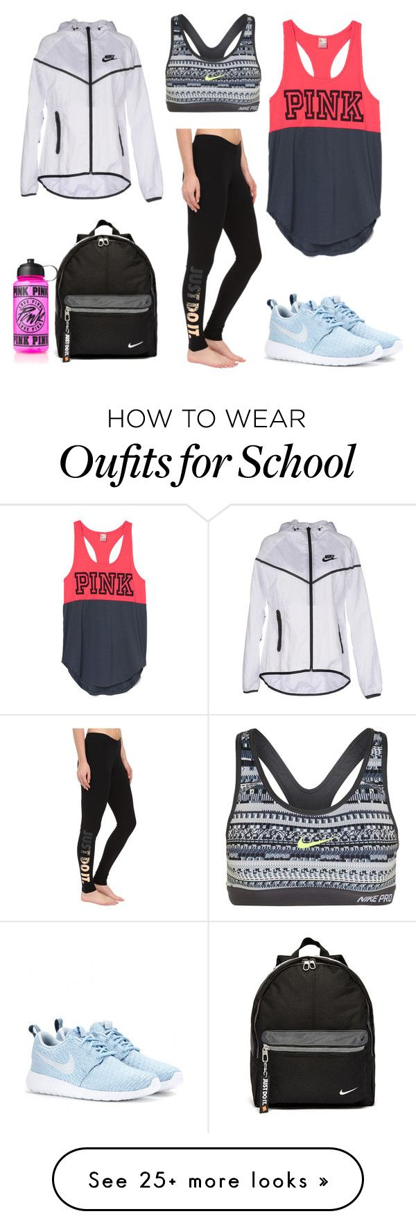 """""""Lazy School Days"""" by maris-herrington-1 on Polyvore featuring NIKE, women's clothing, women's fashion, women, female, woman, misses and juniors"""