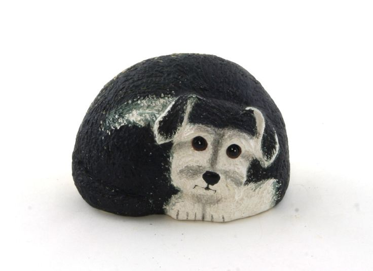 "Terrier Pet Rock Painted poly resin the back is neutral rock color approx. 4"" X 2.5"" Click to enlarge"