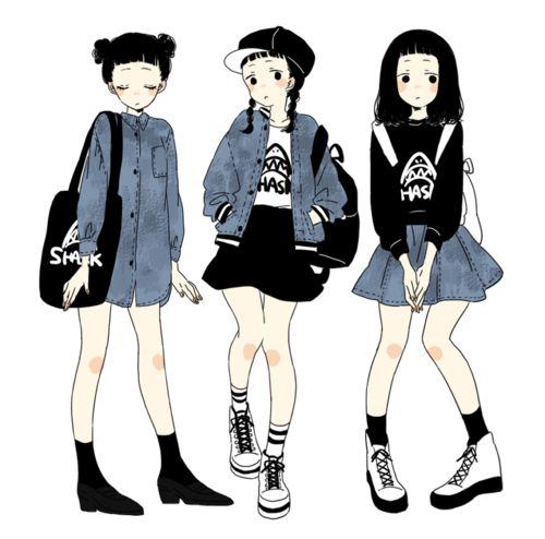 urban casual anime fashion http://www.pixiv.net/member_illust.php?mode=medium&illust_id=41553262